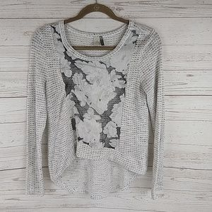 Anthropologie paper crane floral sheer sweater M